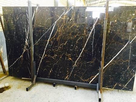 golden black marble slab